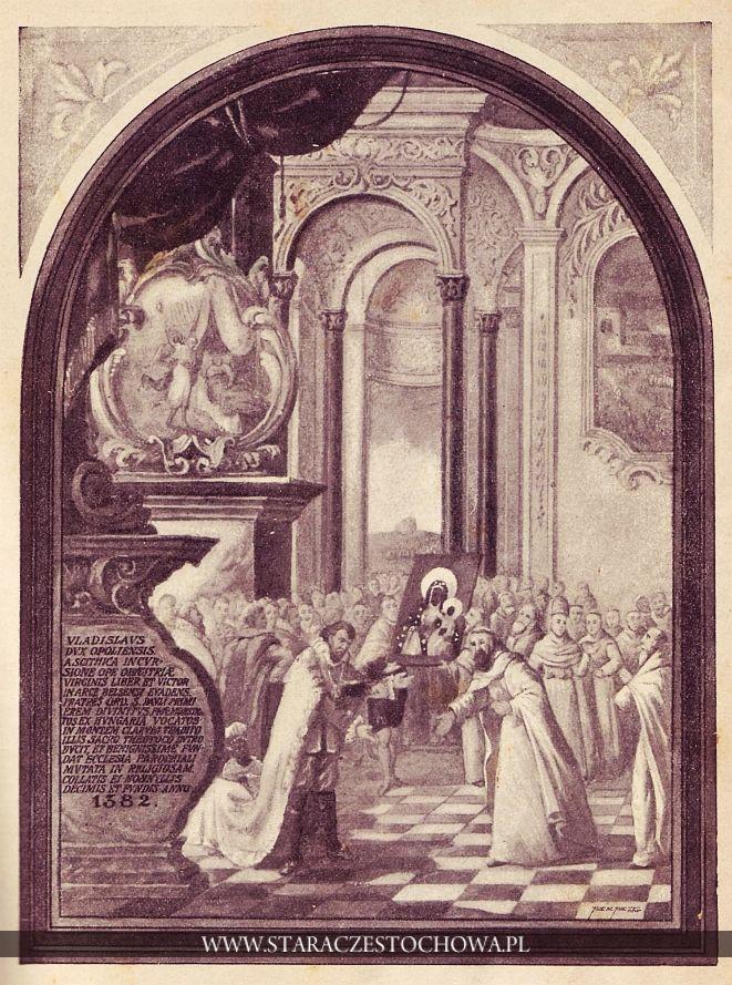 Władysław Książę Opolski ofiaruje cudowny obraz Matki Boskiej Częstochowskiej