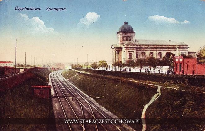 Nowa Synagoga w Częstochowie u zbiegu ówczesnych ulic Spadek i Aleksandryjskiej