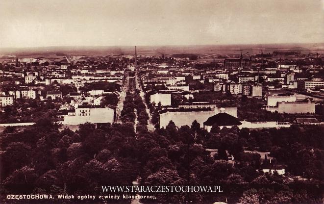 Stara Częstochowa, panorama miasta z Wieży Jasnogórskiej