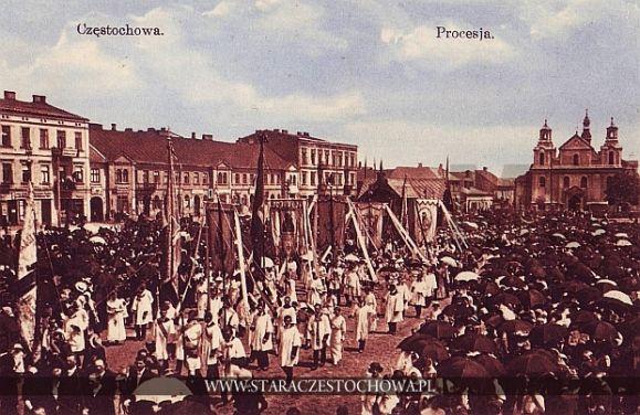 Uroczysta procesja przybywająca na Jasną Górę, początek XX wieku
