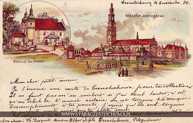 Pocztówka z Częstochowy, litografia, długi adres