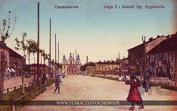 Aleja I i kościół św. Zygmunta w Częstochowie