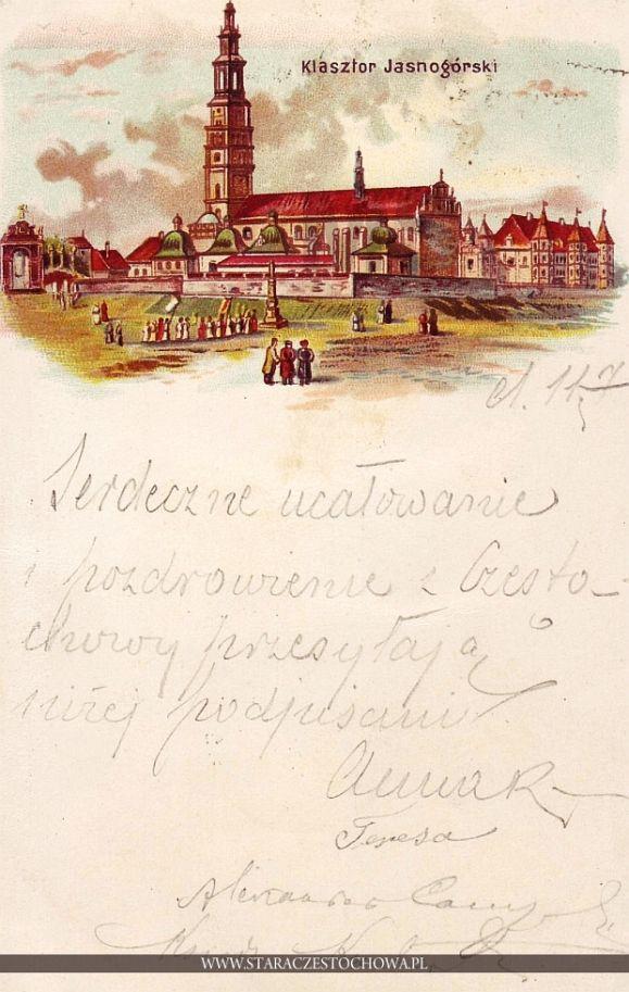 Klasztor Jasnogórski, litografia z 1898 roku, długi adres