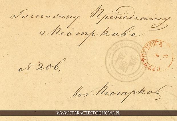 Obwoluta listu, zalakowana z 1853 roku przez Komorę Celną w Herbach