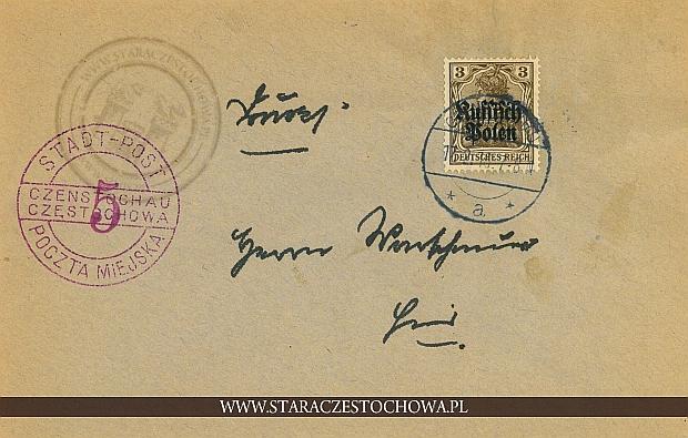 Koperta pocztowa, rok 1916 Czenstochau