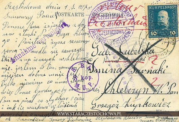 Karta pocztowa, rok 1919 Poczta Miejska Częstochowa