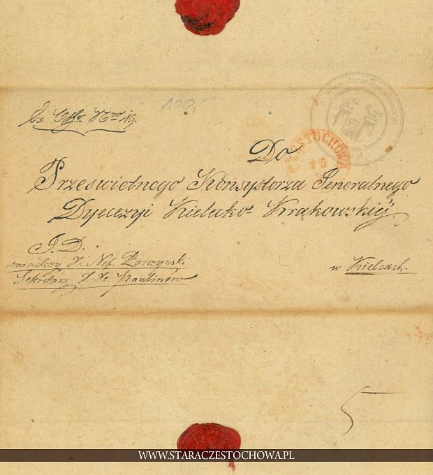 Obwoluta listu, zalakowana z 1852 roku
