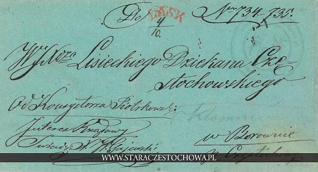 Koperta pocztowa adres. Dziekan Częstochowski z 1851 roku