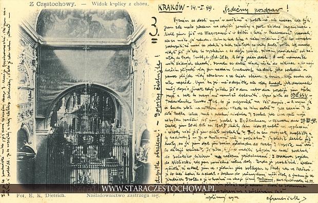 Widok kaplicy z chóru na Jasnej Górze, długi adres
