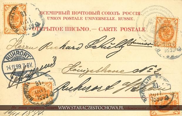 Rosyjska karta pocztowa z 1899 roku, Ruhrort