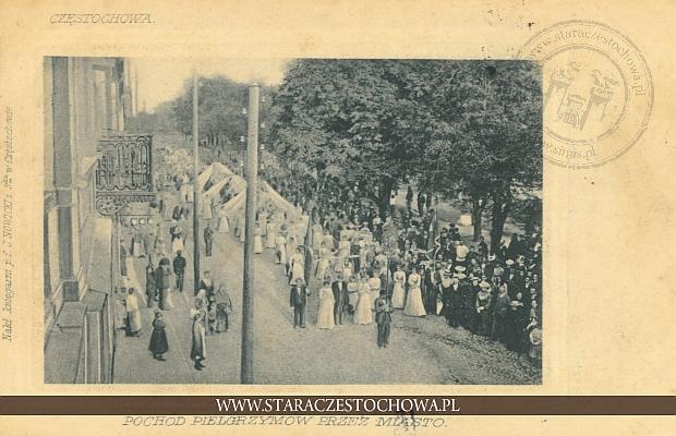 Częstochowa, pochód pielgrzymów przez miasto, długi adres