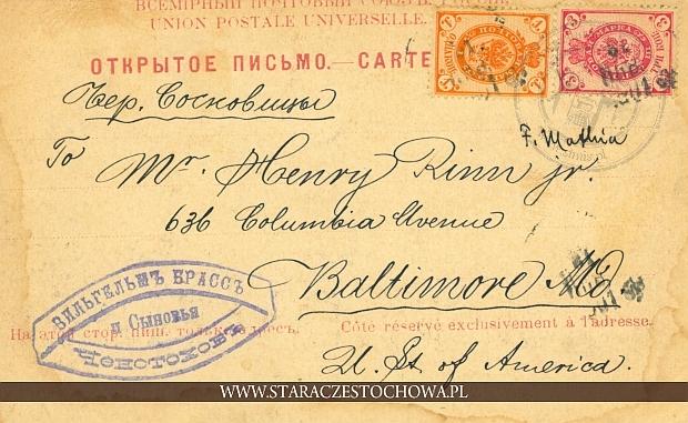Rosyjska karta pocztowa z 1899 roku, Baltimore