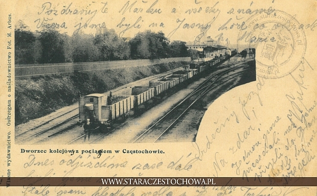 Dworzec kolejowy z pociągiem w Częstochowie, długi adres