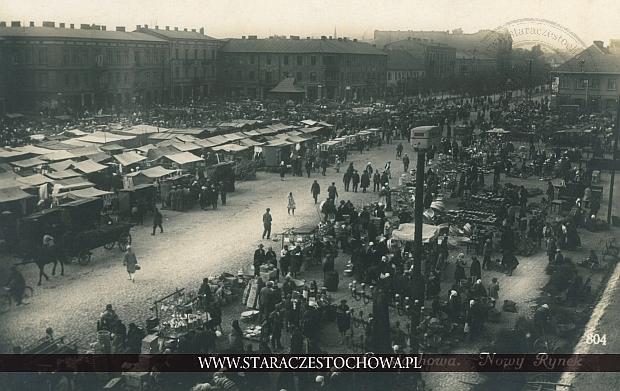 Nowy Rynek w Częstochowie, pocztówka fotograficzna