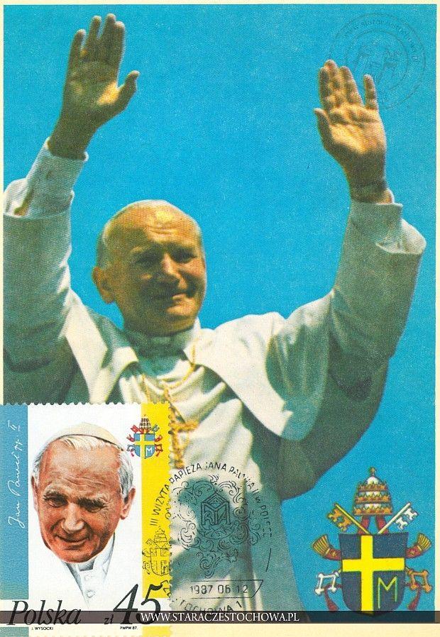 Karta pocztowa, III wizyta Papieża Jana Pawła II w Polsce, 1987