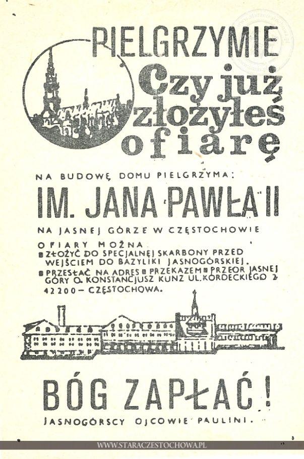 Cegiełka na budowę Domu Pielgrzyma