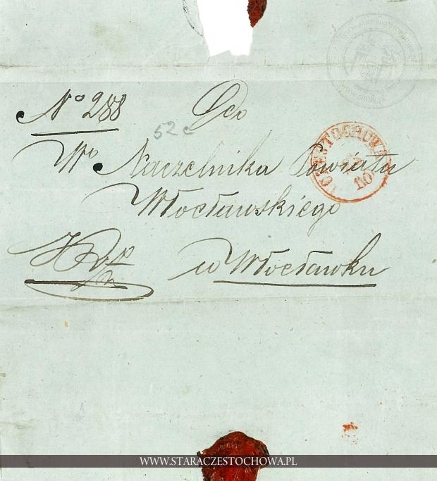 Obwoluta listu wysłanego z Częstochowy, 1855 rok