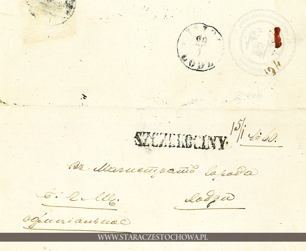 Obwoluta listu, Szczekociny 1860
