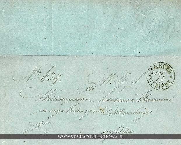 Obwoluta listu wysłanego z Siewierza, 1860 rok