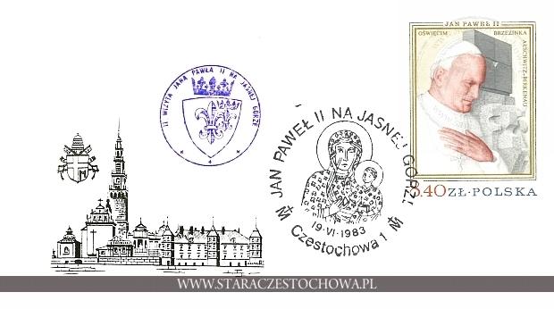 Koperta pocztowa, Jan Paweł II na Jasnej Górze