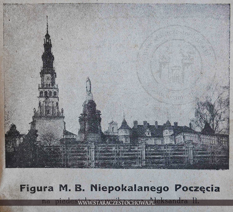 Figura M. B. Niepokalanego Poczęcia na piedestale pomnika cara Aleksandra II